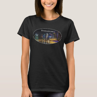 Scenic Singapore Skyline at Night T-Shirt