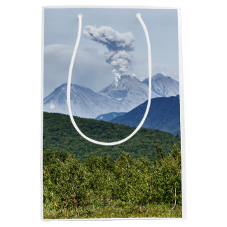 Scenic summer erupting active volcano medium gift bag