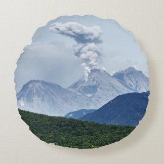 Scenic summer volcano landscape round cushion