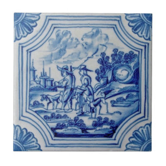 Scenic Travelers Animals Blue Delft Wall Tile