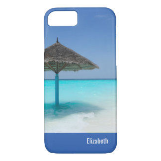 Scenic Tropical Beach with Thatched Umbrella iPhone 8/7 Case