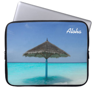 Scenic Tropical Beach with Thatched Umbrella Laptop Sleeve