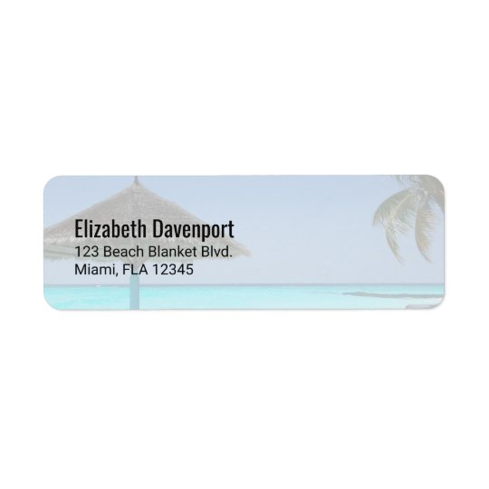 Scenic Tropical Beach with Thatched Umbrella Return Address Label