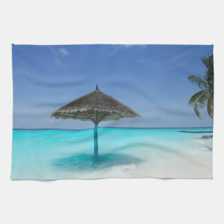Scenic Tropical Beach with Thatched Umbrella Tea Towel