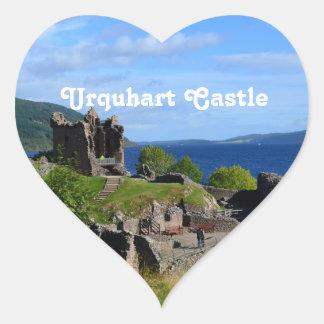 Scenic Urquhart Castle Ruins Heart Sticker
