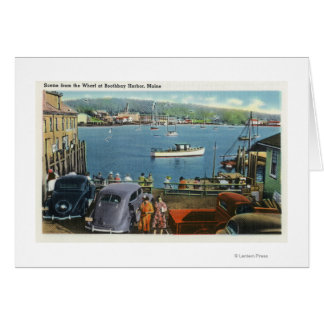 Scenic View from the Wharf, Boats and Cars Card
