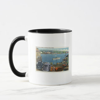 Scenic View from the Wharf, Boats and Cars Mug