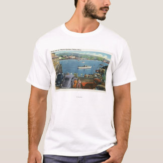 Scenic View from the Wharf, Boats and Cars T-Shirt