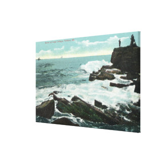 Scenic View of Cape Cottage of the Rocky Shore Canvas Print