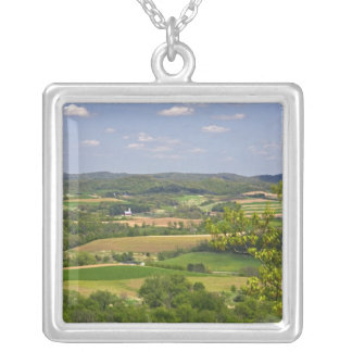 Scenic view of farmland south of Arcadia, 2 Silver Plated Necklace