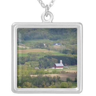 Scenic view of farmland south of Arcadia, Silver Plated Necklace
