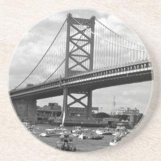 Scenic view of the Ben Franklin Bridge Drink Coasters
