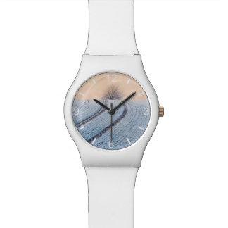 Scenic Winter Landscape Tree Photo - dial-plate Wristwatch