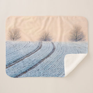 Scenic Winter Landscape Trees with Hoarfrost Photo Sherpa Blanket