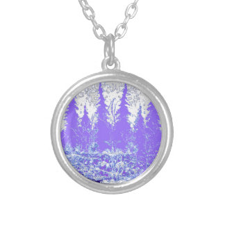 Scenic Winter Purple Forest ART Round Pendant Necklace