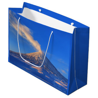 Scenic winter volcano landscape large gift bag
