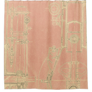 Schematic Drawing Old blueprint rustic colors soft Shower Curtain