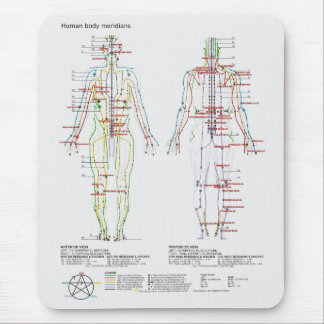 Schematic of the Chinese or Human Body Meridians Mouse Pad