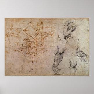 Scheme for the Sistine Chapel Ceiling, c.1508 Print