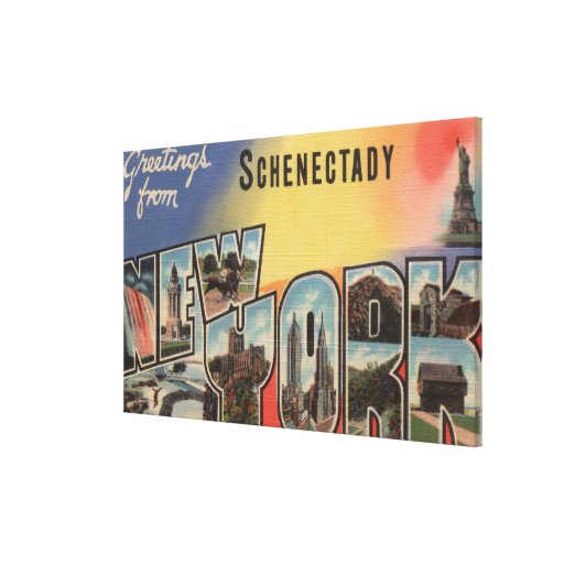 Schenectady, New York - Large Letter Scenes Stretched Canvas Print