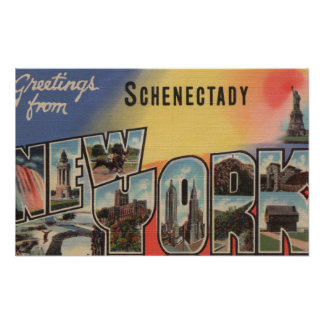 Schenectady, New York - Large Letter Scenes Poster
