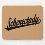 Schenectady script logo in black mousepad