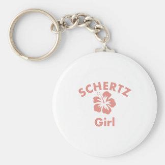 Schertz Pink Girl Basic Round Button Key Ring
