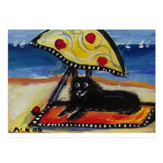 Schipperke beach lover postcard