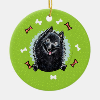 Schipperke Christmas Wreath Round Ceramic Decoration