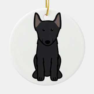 Schipperke Dog Cartoon Round Ceramic Decoration