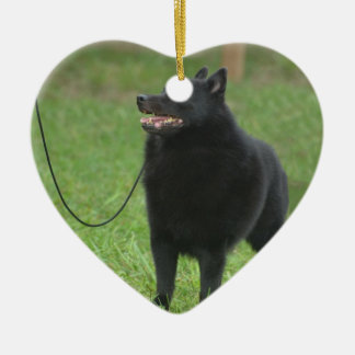 Schipperke Dog Ceramic Heart Decoration