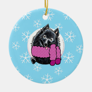 Schipperke Let it Snow Round Ceramic Decoration