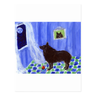schipperke senses smiling moon postcard