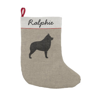 Schipperke Silhouette with Custom Text Small Christmas Stocking
