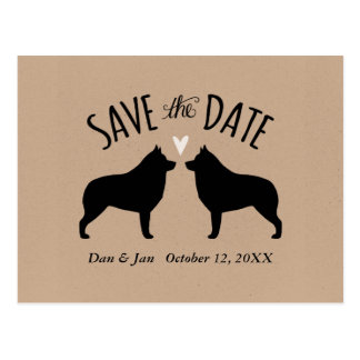 Schipperke Silhouettes Wedding Save the Date Postcard