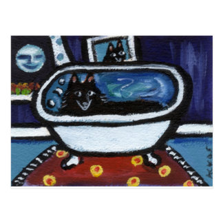 Schipperke whimsical bath postcard