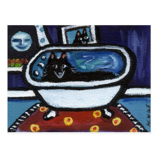 Schipperke whimsical bath postcard