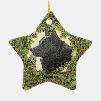 Schipperke Wreath Christmas Ornament
