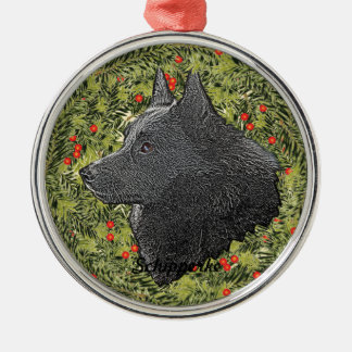 Schipperke Wreath Silver-Colored Round Decoration