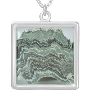 Schist rock silver plated necklace