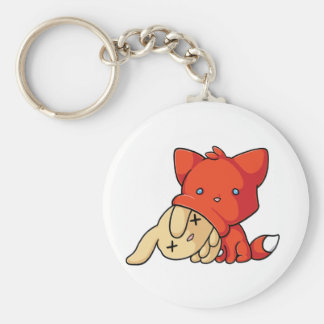 SCHLUP Fox Eating Rabbit Basic Round Button Key Ring