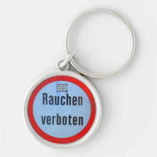 Schlüsselanhänger rauchen verboten Silver-Colored round key ring