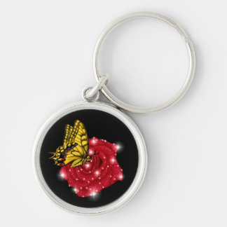 Schmetterling auf rote Rose m sterne regentropfen Schlüsselbänder