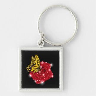 Schmetterling auf rote Rose m sterne regentropfen Schlüsselband
