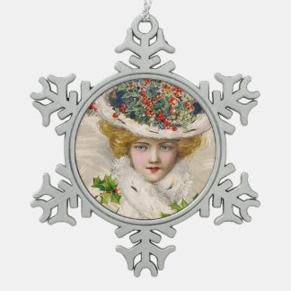 Schmucker: Woman with Holly Hat Snowflake Pewter Christmas Ornament