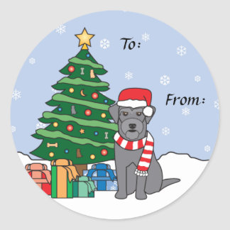 Schnauzer and Christmas Tree Classic Round Sticker