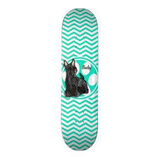 Schnauzer; Aqua Green Chevron Skate Deck