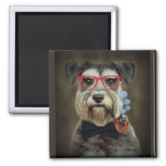 Schnauzer Blowing Bubbles Magnet