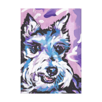 Schnauzer Bright Colorful Pop Dog Art Gallery Wrapped Canvas
