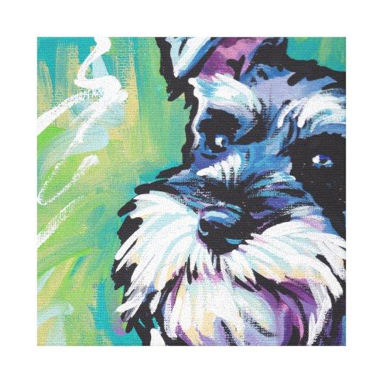Schnauzer Bright Colourful Pop Dog Art Canvas Print